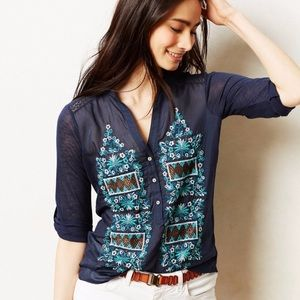 Anthropologie Tiny Larimar Embroidered Henley Top